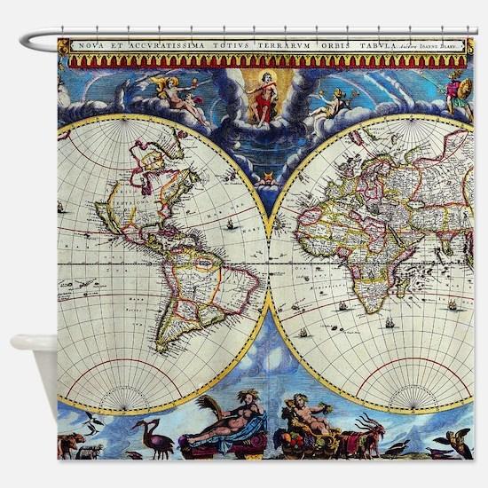 Antique World Map Shower Curtain