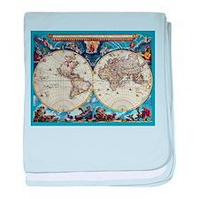Antique World Map baby blanket
