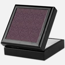 Purple Damask Print Keepsake Box