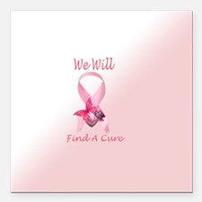 """Cancer Ribbon w/Butterfly Square Car Magnet 3"""" x 3"""