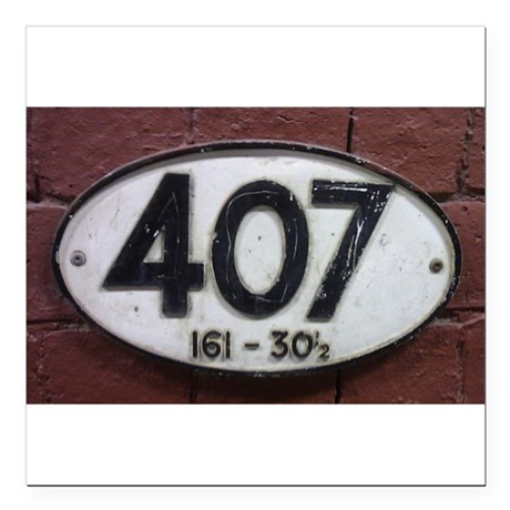 "Railway sign 407 Square Car Magnet 3"" x 3"""