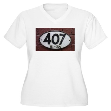 Railway sign 407 Women's Plus Size V-Neck T-Shirt