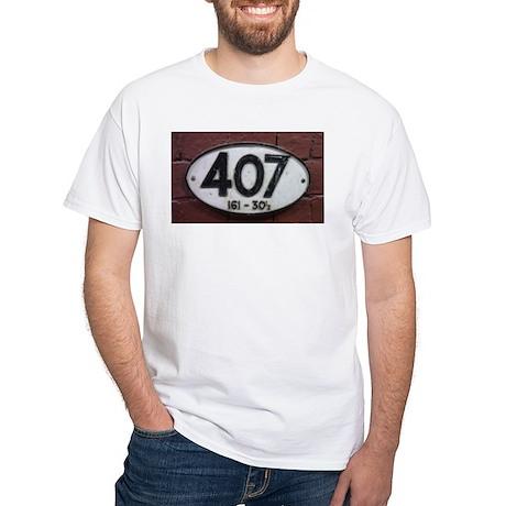 Railway sign 407 White T-Shirt