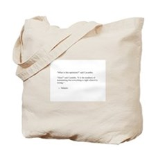 Voltaire on optimism Tote Bag