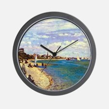 Monet The Beach at Sainte Adresse Wall Clock