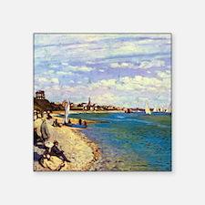 Monet The Beach at Sainte Adresse Square Sticker 3