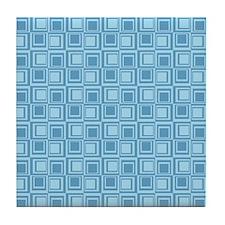 Blue Blocks Print Tile Coaster