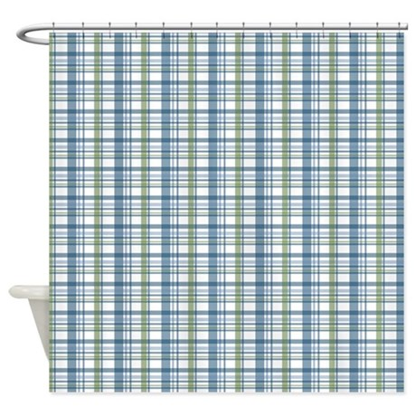 blue green plaid print shower curtain by printedlittletreasures