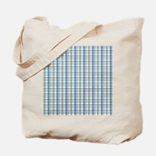 Blue Green Plaid Print Tote Bag