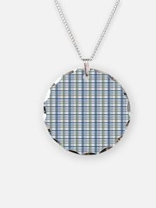 Blue Green Plaid Print Necklace