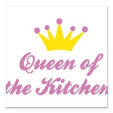 "Queen of the Kitchen Square Car Magnet 3"" x 3"""