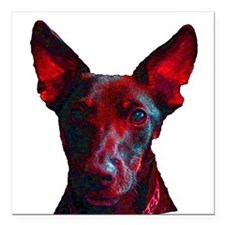 "Day Glow Dog Head Shot Square Car Magnet 3"" x 3"""