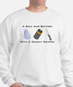 A Salt And Battery With A Dea Sweatshirt