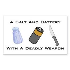 A Salt And Battery With A Dea Sticker (Rectangular