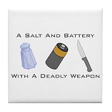A Salt And Battery With A Dea Tile Coaster