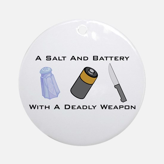 A Salt And Battery With A Dea Ornament (Round)