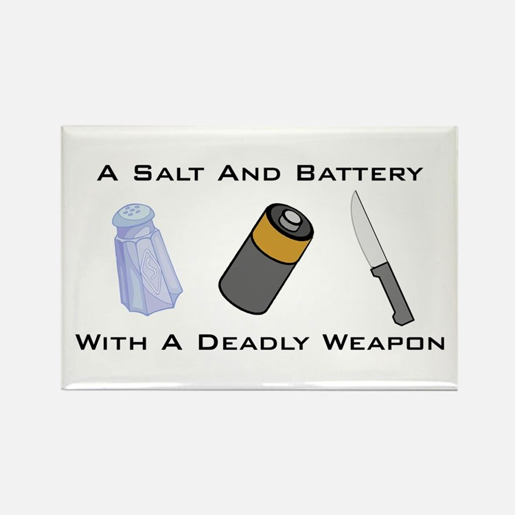 A Salt And Battery With A Dea Rectangle Magnet