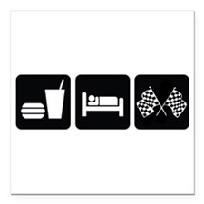 "Eat Sleep Race Square Car Magnet 3"" x 3"""