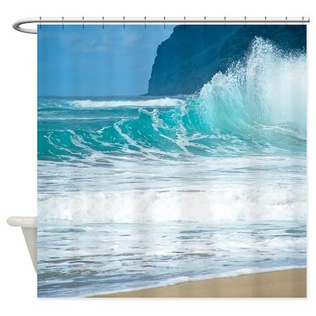 Surf Beach Polihale Hawaii Tropical Shower Curtain