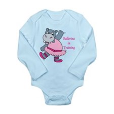 Cute Dancing hippo Long Sleeve Infant Bodysuit