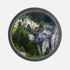 Pines in cliffs Wall Clock