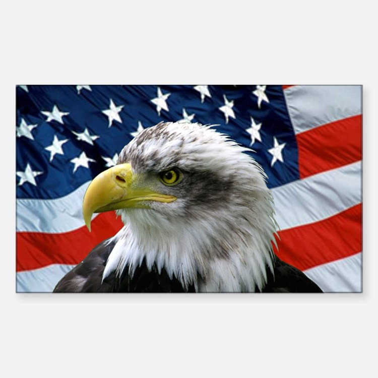 American Flag behind Bald Eagle Oval Decal