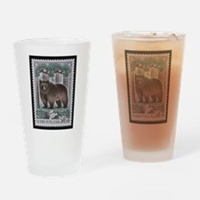 Vintage Postage Stamp - The Bear Drinking Glass