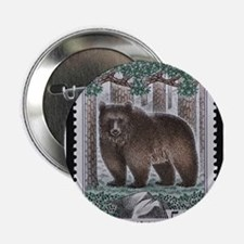 """Vintage Postage Stamp - The Bear 2.25"""" Button"""