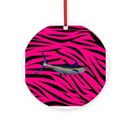 Blue Marlin Fish on Pink Zebra Stripes Ornament (R