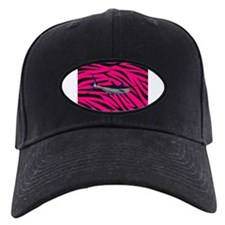 Blue Marlin Fish on Pink Zebra Stripes Baseball Hat