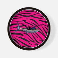 Blue Marlin Fish on Pink Zebra Stripes Wall Clock