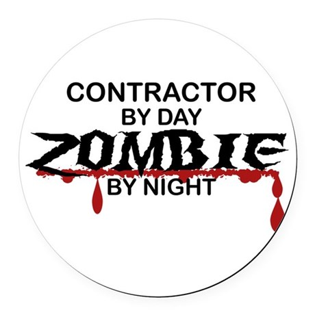 Contractor Zombie Round Car Magnet
