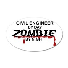 Civil Engineer Zombie 20x12 Oval Wall Decal