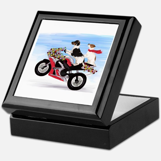 Jack Russells on a motorcycle Keepsake Box