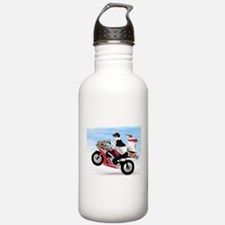 Jack Russells on a motorcycle Water Bottle