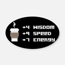 8 Bit Coffee Video Game Oval Car Magnet
