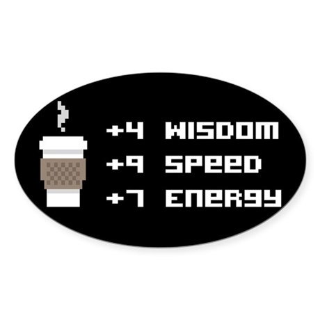 8 Bit Coffee Video Game Sticker (Oval)