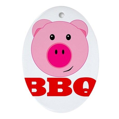 Pink Pig Red BBQ Ornament (Oval)