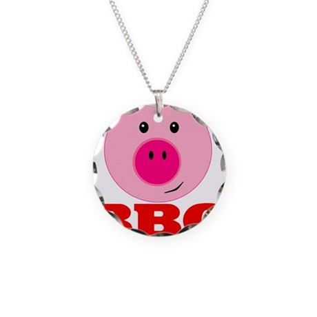 Pink Pig Red BBQ Necklace Circle Charm
