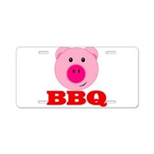 Pink Pig Red BBQ Aluminum License Plate