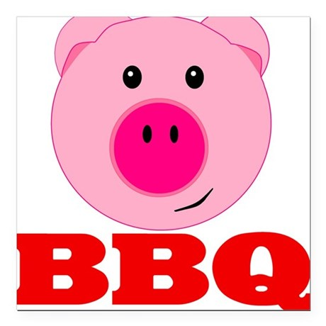 """Pink Pig Red BBQ Square Car Magnet 3"""" x 3"""""""