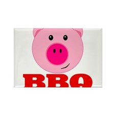 Pink Pig Red BBQ Rectangle Magnet (100 pack)