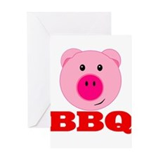 Pink Pig Red BBQ Greeting Card