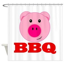 Pink Pig Red BBQ Shower Curtain