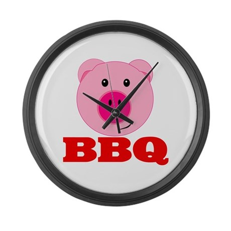 Pink Pig Red BBQ Large Wall Clock