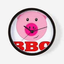 Pink Pig Red BBQ Wall Clock