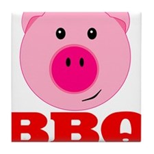 Pink Pig Red BBQ Tile Coaster