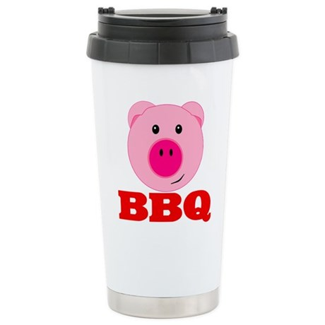 Pink Pig Red BBQ Stainless Steel Travel Mug