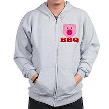 Pink Pig Red BBQ Zip Hoodie