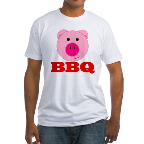Pink Pig Red BBQ Fitted T-Shirt